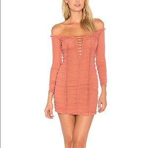 Majorelle pink ruched mini dress